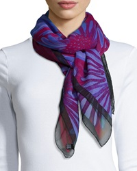 Anna Coroneo Daisies Classic Chiffon Square Scarf Lilac Red