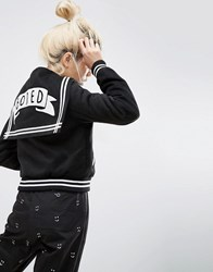 Lazy Oaf Mono Bored Varsity Sailor Bomber Jacket Black White