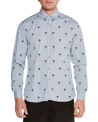 Tomas Maier Embroidered Palm Tree Print Shirt Navy Black