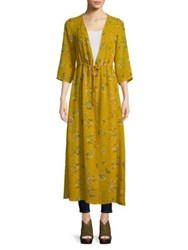 Design Lab Lord And Taylor Floral Wrap Dress Yellow Spice