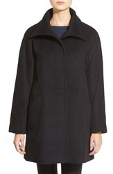 Petite Women's Ellen Tracy Convertible Collar Kimono Sleeve Coat Black