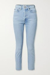 Re Done 90S Cropped Frayed High Rise Skinny Jeans Light Denim