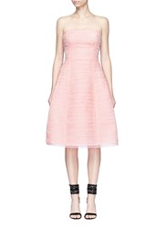 Oscar De La Renta Pleated Silk Organza Strapless Dress Pink