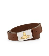 Vivienne Westwood Square Gold Buckle Belt 82010002 Tan