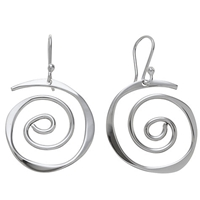 Andea Sterling Silver Sculptured Spiral Drop Earrings
