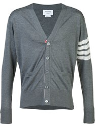 Thom Browne Striped Detail Cardigan Grey