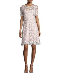 Elie Tahari Laura Short Sleeve Lace Dress Pink Pattern