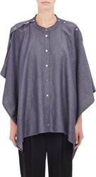 Mm6 Maison Margiela Reversible Chambray Cape Top Blue Size 40 Fr