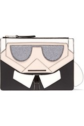 Karl Lagerfeld Kocktail Leather Trimmed Faux Textured Leather Pouch Black