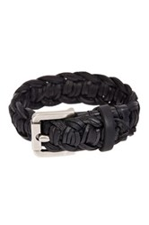John Varvatos Braided Leather Cuff Bracelet Black