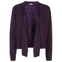 Jacques Vert Lace Waterfall Cardigan Dark Purple