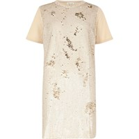 River Island Womens Nude Sequin Oversized T Shirt Dress