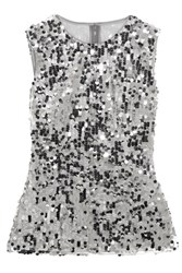 Dolce And Gabbana Sequined Tulle Top Silver