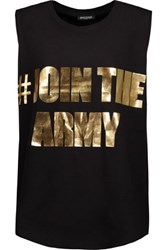 Balmain Printed Cotton Tank Black