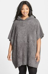 Plus Size Women's Barefoot Dreams Cozychic Ribbed Hooded Poncho Black Charcoal