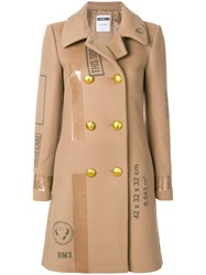 Moschino Patch Print Double Breasted Coat Acetate Cupro Virgin Wool Nude Neutrals