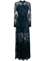 Three Floor Lace Detailed Dress Blue