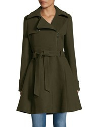 Catherine Malandrino Asymmetrical Fit And Flare Coat Olive Green