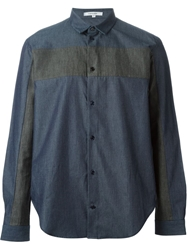 Carven Stripe Panel Shirt Blue