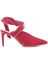 Alexandre Birman Ankle Tie Mules Pink And Purple