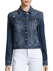Jean Shop Angie Western Cropped Denim Jacket Classic Blue