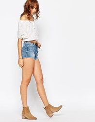Pepe Jeans Low Waist Short With Raw Edge Blue