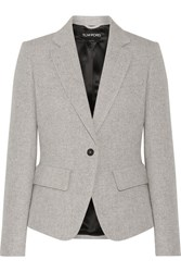 Tom Ford Leather Trimmed Wool And Mohair Blend Blazer Gray