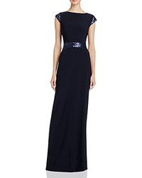Betsy And Adam Sequin Embellished Gown Navy