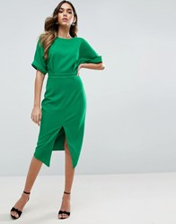 Asos Wiggle Dress With Split Front Emerald Green