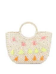 Saks Fifth Avenue Round Handle Tassel Straw Tote Natural