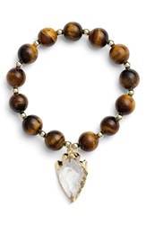 Women's Elise M. 'Allegra' Arrow Pendant Beaded Bracelet Tigers Eye