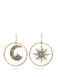 Roberto Cavalli Sun And Moon Embellished Hoop Earrings White Multi
