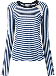 Derek Lam 10 Crosby Striped Longsleeved T Shirt White