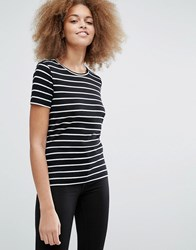 Monki Scoop Neck Tee Black Stripe