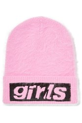 Alexander Wang Embroidered Angora Blend Beanie Bright Pink