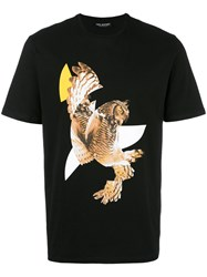 Neil Barrett Modernist Owl Print T Shirt Black