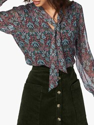 Brora Liberty Silk Chiffon Bow Blouse Multi