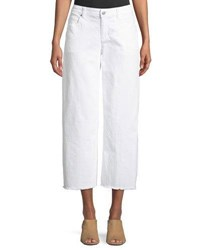 Eileen Fisher Organic Cotton Garment Dyed Denim Wide Leg Ankle Jeans With Raw Edges White