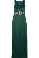 Raoul Azalea Embellished Satin Gown Forest Green
