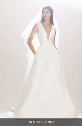Women's Carolina Herrera 'Mason' Plunging V Neck Silk Mikado Ballgown In Stores Only