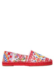 Dolce And Gabbana 20Mm Maiolica Printed Leather Flats