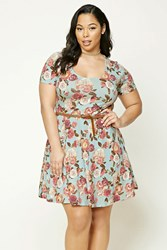 Forever 21 Plus Size Floral Print Dress Dusty Blue Pink