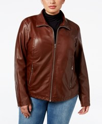 Kenneth Cole Plus Size Faux Leather Bomber Jacket Whiskey