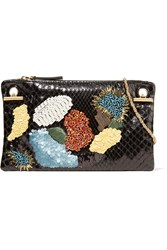 The Row Party Hour 7 Embellished Python Shoulder Bag Black