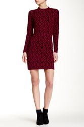 Mock Neck Pattern Sweater Dress Red