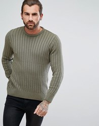 Ringspun Cable Block Knitted Jumper Green