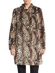 Rebecca Taylor Cheetah Patterned Faux Fur Coat Leopard