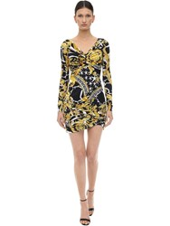 Versace Printed Stretch Jersey Mini Dress Black