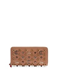 Christian Louboutin Panettone Embellished Zip Around Leather Wallet Nude