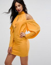Aq Aq Mini Dress With Cold Shoulder Ruched Detail Saffron Yellow